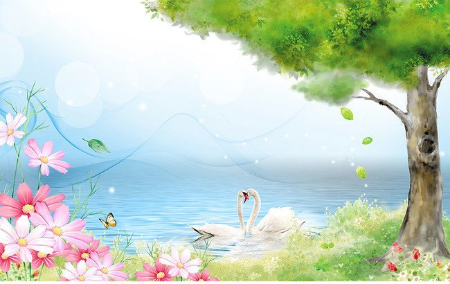 Under-trees-swan-beautiful-hand-painted-cartoon-wallpaper-large-mural-painting-bedroom-wallpaper-backdrop-stereoscopic-wallpaper.jpg